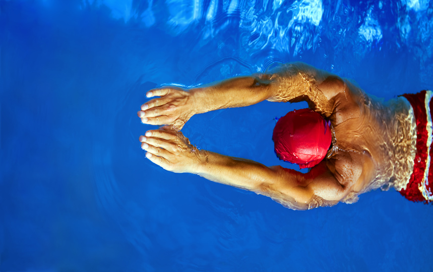 Arial view of a swimmer